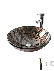 abordables -Lavabo de Baño / Grifería de Baño / Anillo de Montura de Baño Clásico - Vidrio Templado Redondo