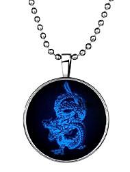 baratos -Homens Pedra Luminosa Longas Colares com Pendentes - Dragão Vintage, Étnico, Fashion Azul 60 cm Colar 1pç Para Halloween, Bandagem