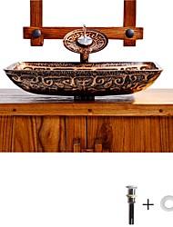Недорогие -умывальник для ванной / смеситель для ванной / монтажное кольцо для ванной Античный - Закаленное стекло Прямоугольный