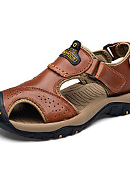 cheap -Men's Nappa Leather / Cowhide Summer Comfort Sandals Light Brown / Dark Brown / Khaki