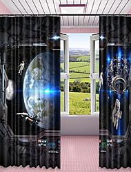 abordables -Cortinas 3D Dormitorio Geométrico Poliéster Impreso