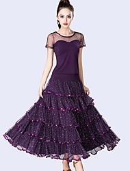abordables -Danse de Salon Tenue Femme Utilisation Tulle / Fibre de Lait Ruché / Combinaison / Paillette Manches Courtes Taille moyenne Jupes / Haut