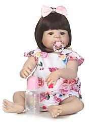 Недорогие -NPKCOLLECTION Куклы реборн Девочки 24 дюймовый Полный силикон для тела Винил - Искусственная имплантация Коричневые глаза Детские Девочки Игрушки Подарок