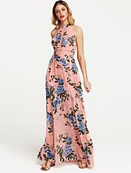 cheap -Women's Holiday Boho Cotton Loose Chiffon Dress - Floral Print High Waist Maxi Halter Neck / Summer
