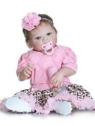 Недорогие -NPKCOLLECTION Куклы реборн Девочки 24 дюймовый Полный силикон для тела Винил - Искусственные имплантации Голубые глаза Детские Девочки Игрушки Подарок