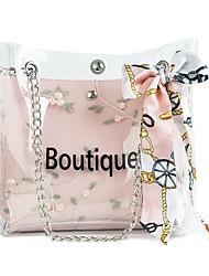 baratos -Mulheres Bolsas PVC Bolsa de Ombro Renda Floral Verde / Branco / Rosa