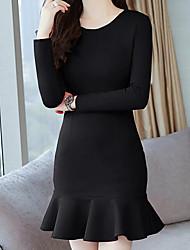 abordables -Mujer Chic de Calle / Sofisticado Vaina / Corte Sirena Vestido Un Color Sobre la rodilla