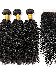 cheap -3 Bundles with Closure Brazilian Hair Curly Human Hair Human Hair Extensions / Hair Weft with Closure 8-22 inch Human Hair Weaves 4x4 Closure Extention / Best Quality / Lace Closure Natural Color