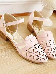 baratos -Mulheres Sapatos Couro Ecológico Primavera Verão Chanel Sandálias Salto Robusto Dedo Fechado Roxo / Verde / Rosa claro