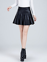 cheap -Women's Going out Faux Leather A Line Skirts - Solid Colored