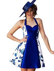 Недорогие -Жен. Классический А-силуэт Платье - Цветочный принт / Контрастных цветов, С принтом Выше колена