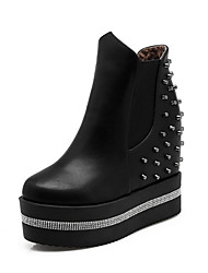 cheap -Women's Shoes PU(Polyurethane) Fall & Winter Fashion Boots / Bootie Boots Wedge Heel Round Toe Booties / Ankle Boots Rhinestone / Rivet White / Black
