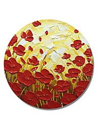 cheap -STYLEDECOR Modern Hand Painted Abstract Circular Frame Red Flower On Yellow Background Oil Painting on Canvas