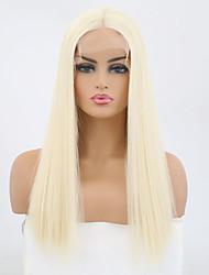 Недорогие -Синтетические кружевные передние парики Прямой Блондинка Средняя часть Искусственные волосы Жаропрочная Блондинка Парик Жен. Средняя длина Лента спереди Отбеливатель Blonde / Да