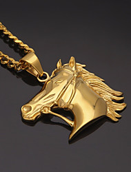 cheap -Men's Cuban Link Pendant Necklace / Chain Necklace - Stainless Horse Head, Creative European, Trendy, Hip-Hop Gold 70 cm Necklace 1pc For Gift, Street