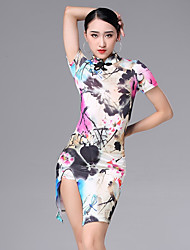 cheap -Latin Dance Dresses Women's Performance Ice Silk Pattern / Print / Ruching Short Sleeve Dress