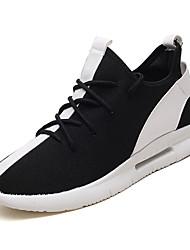 baratos -Homens sapatos Couro Ecológico / Tecido elástico Verão Solados com Luzes Tênis Corrida Branco / Preto