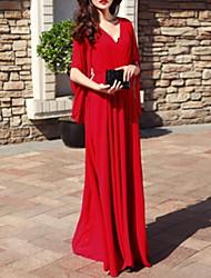 baratos -Mulheres Básico Evasê Vestido Decote V Longo