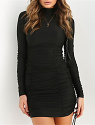 cheap -Women's Basic / Street chic Little Black Dress - Solid Colored Ruched