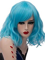 abordables -Wig Accessories / Pelucas sintéticas Ondulado Parte media Pelo sintético Diseños de Moda / Fiesta Rojo / Azul Peluca Mujer Corta Sin Tapa