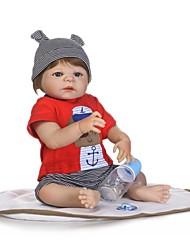 Недорогие -NPKCOLLECTION NPK DOLL Куклы реборн Мальчики 24 дюймовый Полный силикон для тела Винил - Очаровательный Новый дизайн Искусственные имплантации Голубые глаза Детские Мальчики / Девочки Игрушки Подарок