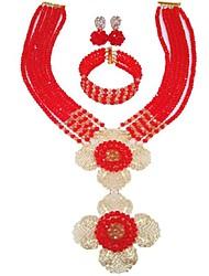 Недорогие -Жен. Многослойность Комплект ювелирных изделий - MOON Мода Включают Струнные ожерелья Зеленый / Ярко-розовый / Светло-коричневый Назначение Свадьба
