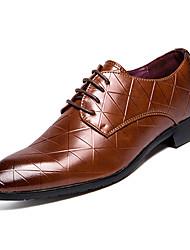 Недорогие -Муж. Свиная кожа Осень Удобная обувь Туфли на шнуровке Черный / Коричневый