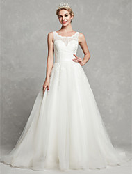 cheap -A-Line Scoop Neck Chapel Train Lace / Tulle Made-To-Measure Wedding Dresses with Lace / Sash / Ribbon by LAN TING BRIDE®