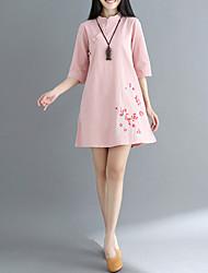 baratos -Mulheres Para Noite Reto Vestido Colarinho Chinês Altura dos Joelhos