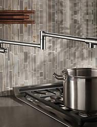 baratos -Torneira de Cozinha - Tradicional Níquel Escovado pot Filler Montagem de Parede / Duas alças de um furo