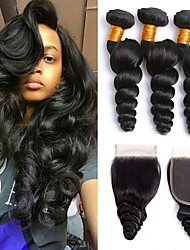 cheap -3 Bundles with Closure Brazilian Hair Wavy Human Hair One Pack Solution / Hair Weft with Closure 8-22 inch Human Hair Weaves 4x4 Closure Best Quality / Hot Sale / Lace Closure Natural Color Human
