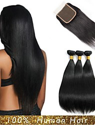 cheap -3 Bundles with Closure Malaysian Hair Straight Human Hair Hair Weft with Closure 8-24 inch Human Hair Weaves Machine Made / 4x4 Closure Best Quality / Hot Sale / Lovely Black Natural Color Human Hair