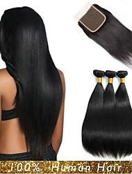 Недорогие -3 комплекта с закрытием Малазийские волосы Прямой Натуральные волосы Волосы Уток с закрытием 8-24 дюймовый Ткет человеческих волос Машинное плетение / 4x4 Закрытие