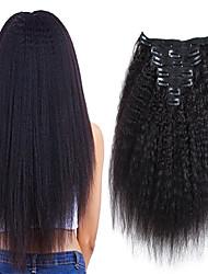billige -Klips I / På Menneskehår Extensions Kinky Glat Naturlig Sort Hårforlængelse af menneskehår Menneskehår Brasiliansk hår 7 stk Ny ankomst / Til sorte kvinder Dame