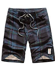 abordables -Hombre Activo Shorts Pantalones - A Cuadros