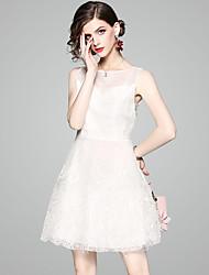cheap -EWUS Women's Basic / Street chic Little Black Dress - Solid Colored Black & White, Tassel