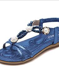 baratos -Mulheres Sapatos Couro Ecológico Primavera Verão Tira em T / Conforto Sandálias Sem Salto Dedo Aberto Pedrarias / Pérolas Sintéticas Dourado / Preto / Azul Escuro