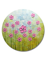 cheap -STYLEDECOR Modern Hand Painted Abstract Circular Frame Pink Flowers on Green Backgroud Oil Painting on Canvas