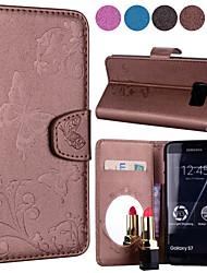ieftine -Maska Pentru Samsung Galaxy S7 edge / S7 Portofel / Titluar Card / Cu Stand Carcasă Telefon Fluture Greu PU piele pentru S7 edge / S7 / S6 edge plus