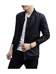cheap -Men's Leather Jacket - Solid Colored, Patchwork