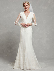 cheap -Sheath / Column V Neck Chapel Train Lace / Tulle Made-To-Measure Wedding Dresses with Lace by LAN TING BRIDE®
