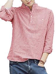 Недорогие -мужская рубашка - полосатая квадратная шея