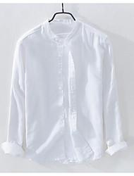 baratos -Homens Camisa Social - Trabalho Sólido Linho / Colarinho Chinês / Manga Longa