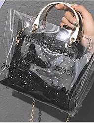 baratos -Mulheres Bolsas PVC Conjuntos de saco 2 Pcs Purse Set Ziper Preto / Rosa / Prateado
