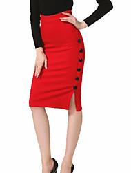 baratos -Mulheres Moda de Rua / Sofisticado Bodycon Saias - Sólido