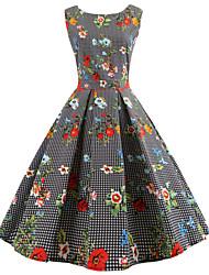 economico -Per donna Per uscire Vintage Cotone Linea A Vestito - Con stampe, Fantasia floreale Al ginocchio / Primavera / Estate