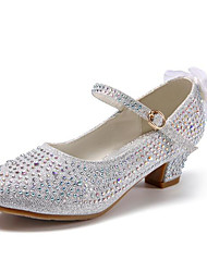 cheap -Girls' Shoes PU(Polyurethane) Spring / Fall Flower Girl Shoes Heels Rhinestone for Teenager Gold / Silver / Pink