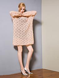 baratos -Mulheres Básico Tricô Vestido - Vazado, Sólido Acima do Joelho