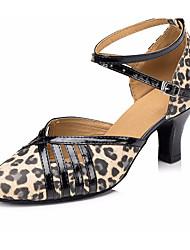 billiga -Dam Moderna skor Läder Högklackade Tjock häl Dansskor Leopard