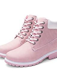 abordables -Femme Chaussures Faux Cuir Automne hiver Confort / boîtes de Combat Bottes Cyclisme / Marche Talon Bottier Bout rond Bottine / Demi Botte Ruban Noir / Jaune / Rose